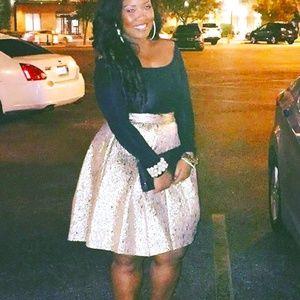 Gold Pleated Skirt- Eliza J